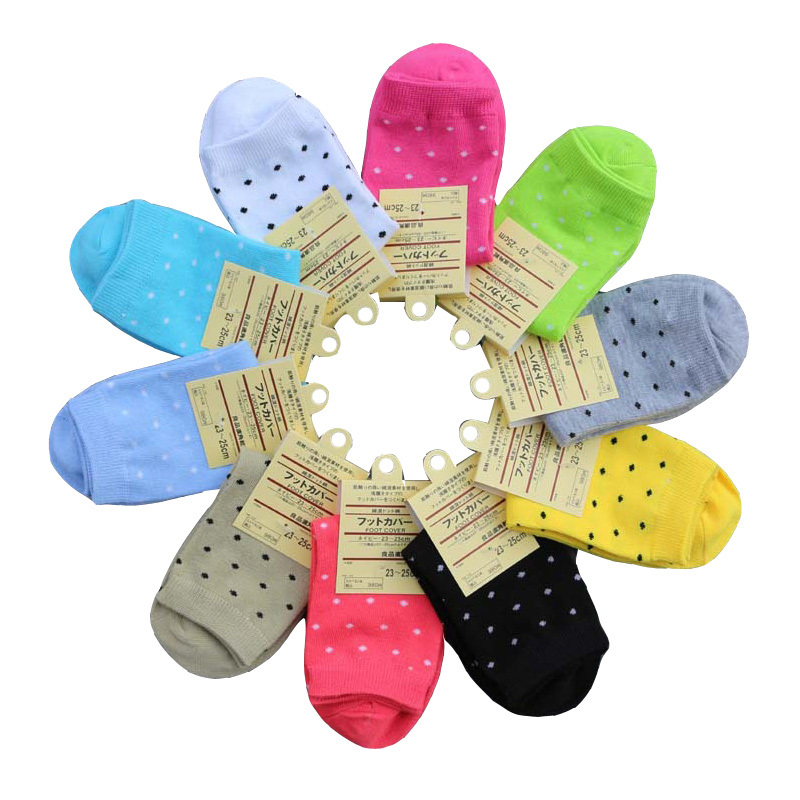 New Fashion 2015 Spring Colorful Sock Dot Brand Casual Cotton Autumn Women Socks For Women 5 pairs High Quality
