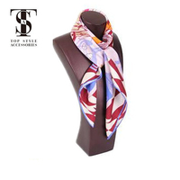 2018 hot selling lady printed twill square own design silk scarf