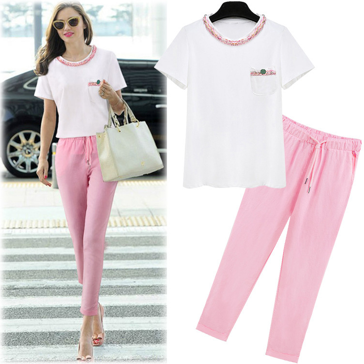 236b3f3aa00 Get Quotations · European 2015 summer style embroidered cotton T-shirt  harem pants 2 piece set women crop