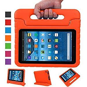 Sztook Shock Proof Kiddie Series Light Weight Convertible Handle Stand Case for Amazon Fire 7 Tablet 5th Generation - Orange