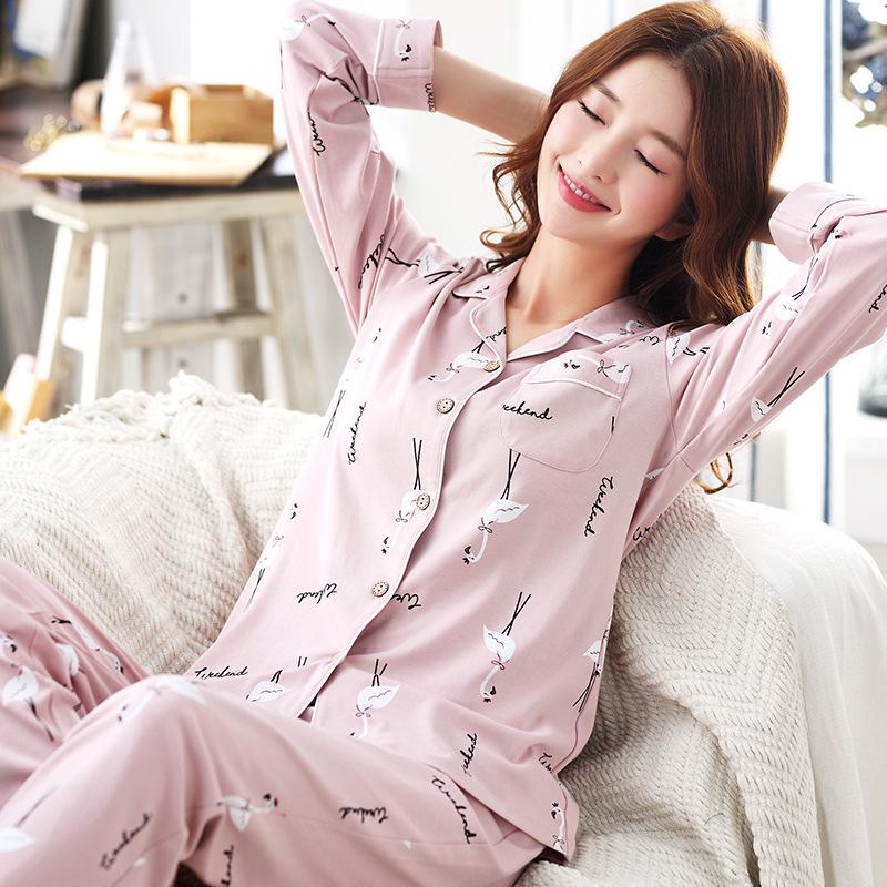 3ba1892ab38 Fashion cotton sleepwear two piece pajama set long sleeve cute pajamas  women China wholesale pj sets