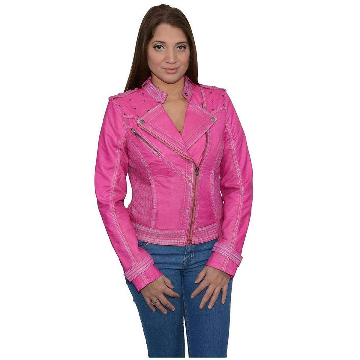 1f7206df9d4 Milwaukee Leather Womens Asymmetrical Studded Pink Sheepskin Jacket -  2X-Large
