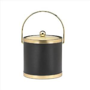 Kraftware Sophisticates Black with Brushed Gold 3-Quart Ice Bucket with Metal Cover, Bands and Bale Handle by Kraftware
