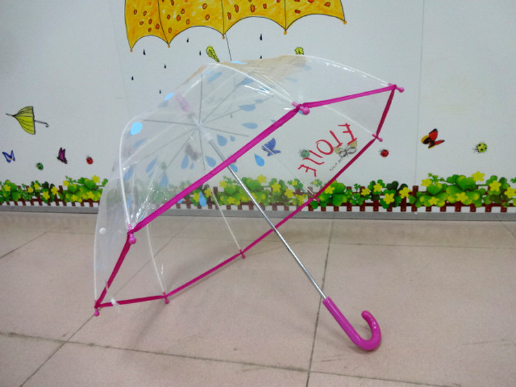 19Inch Safety Manual Open Clear POE Dome Shape Kis Umbrella With Raindrop Silk Printing
