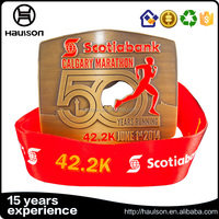 antique gold and silver 5K half marathon medals with enamel color and ribbon for sport marathon award medals