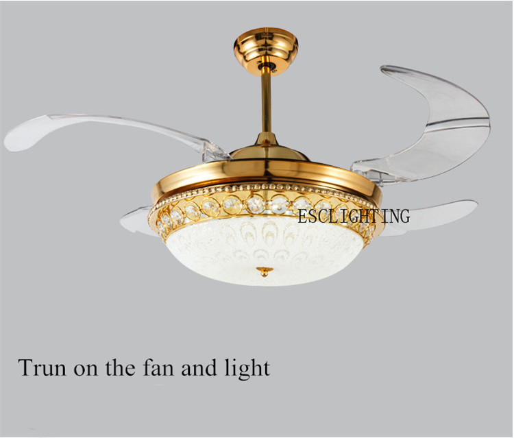 70w AC motor 4 hidden blade led ceiling fan/decorative lighting ceiling fan