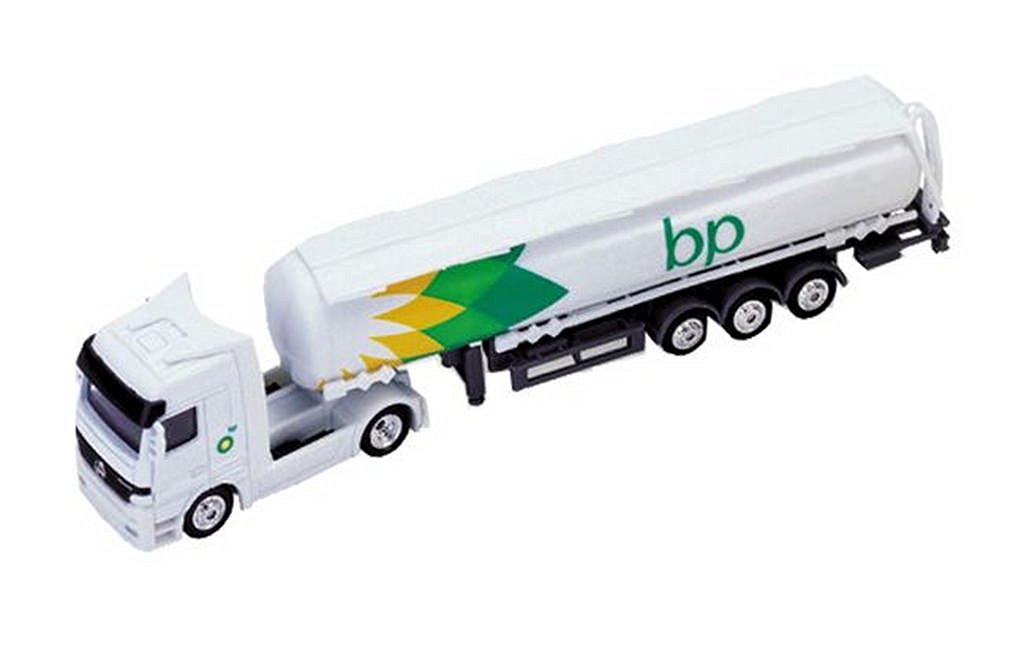Welly 1:87 Mercedes-Benz Actros BP Oil Tanker Truck Diecast Model Collection (White)