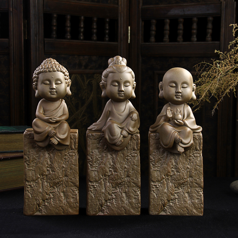 Stoneware purple Western Trinity creative home decorations ornaments crafts Ping Buddha Guanyin special offer free shipping