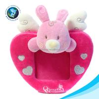 Valentine day gift baby photo frame soft plush stuffed rabbit toy red heart photo frame