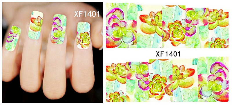 Wholesale colorful Flower Rose water decals nail art stickers with many designs   XF1397-1406