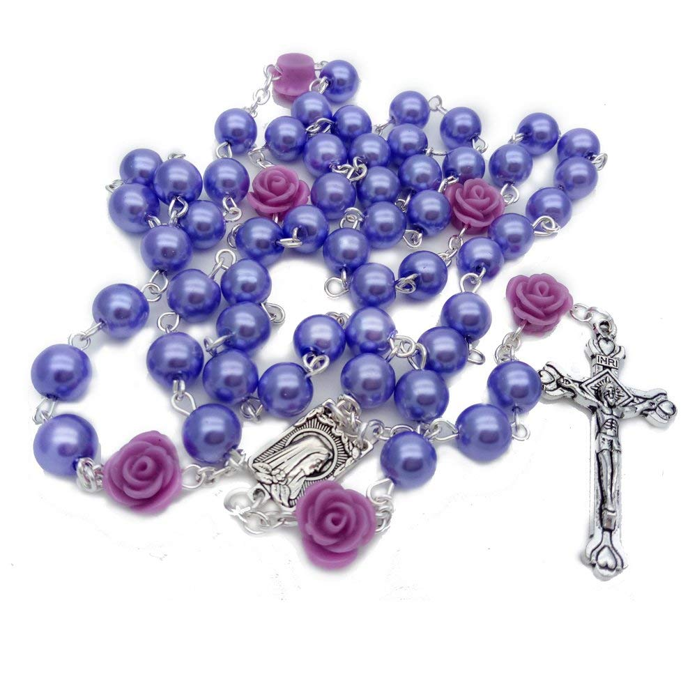 Rosary 8mmPearl with Rose Crucifix Cross Beads Religious Catholic Necklace