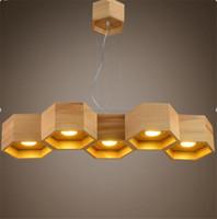 Supply Retro Modern Restaurant Hotel Lobby Bar Decor Lamp Industrial Wooden Shade Concrete Big Pendant Lighting with LED Light
