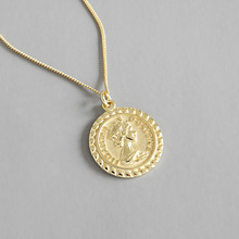 상 인 uk coin 체인 퀸 엘리자베스 image drop 펜 던 트 18 K 금 plated 925 sterling silver necklace