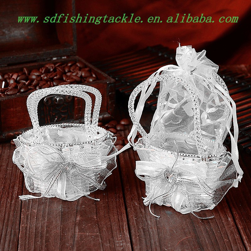 New style manufacture organza basket packaging bag for wedding candy