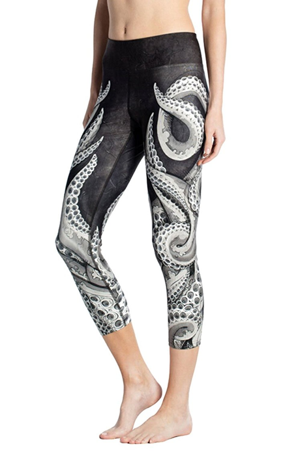 8d8583f94c7 Get Quotations · Pink Queen® Women s Animal Print Leggings Workout Capri  Compression Tights