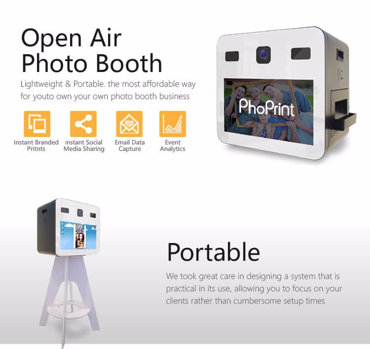 Latest Technology Event for party with dye sublimation printer Photo Booth outdoor Electronic Kiosk Wifi Photo Booth