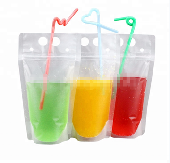 Fda Clear Juice Sealed Drink Pouches Translucent Reclosable Hand Held Zipper Plastic Drinking Bags With
