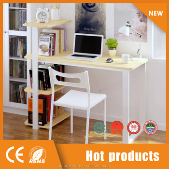 New Design Cheap Modern Wooden Desk With Book Shelf Computer Table