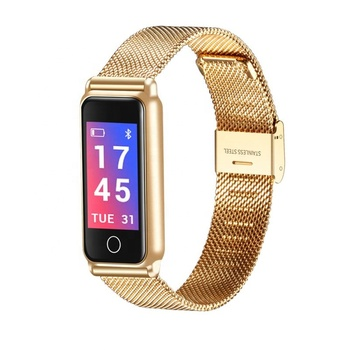 Health Activity Stainless Steel Metal Waterproof Tracker Smart Band with Pedometer Calorie Message Push Smart Bracelet Watch