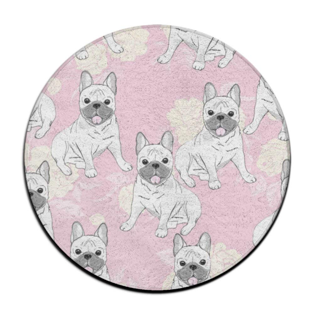 XTingIy Funny Cute Rabbit Rose Pink Home Life Flannel Non-Slip Dining RoomRound\r\n Rug Mats Washable