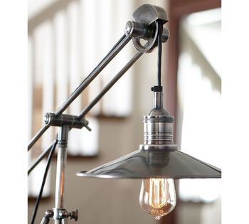 Retro Desk Lamp With Pulley Swing Arm And Metal Stainless Leg