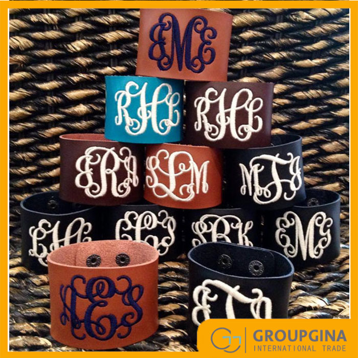 Wholesale New Arrival Personalized Fashion Monogrammed Leather Bracelet Cuff