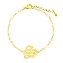 QIAMNI Старый Английский алфавит E письмо браслет для женщин нержавеющая сталь шрифт капитал A-Z начальные браслеты браслет подарок(Китай)