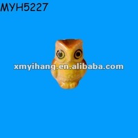 Miniature Brown Yellow with Green Wings Ceramic Owl Statue
