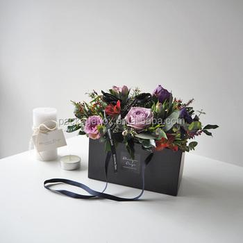 Hot Selling Black Square Flower Vase Standwedding Decoration Flower