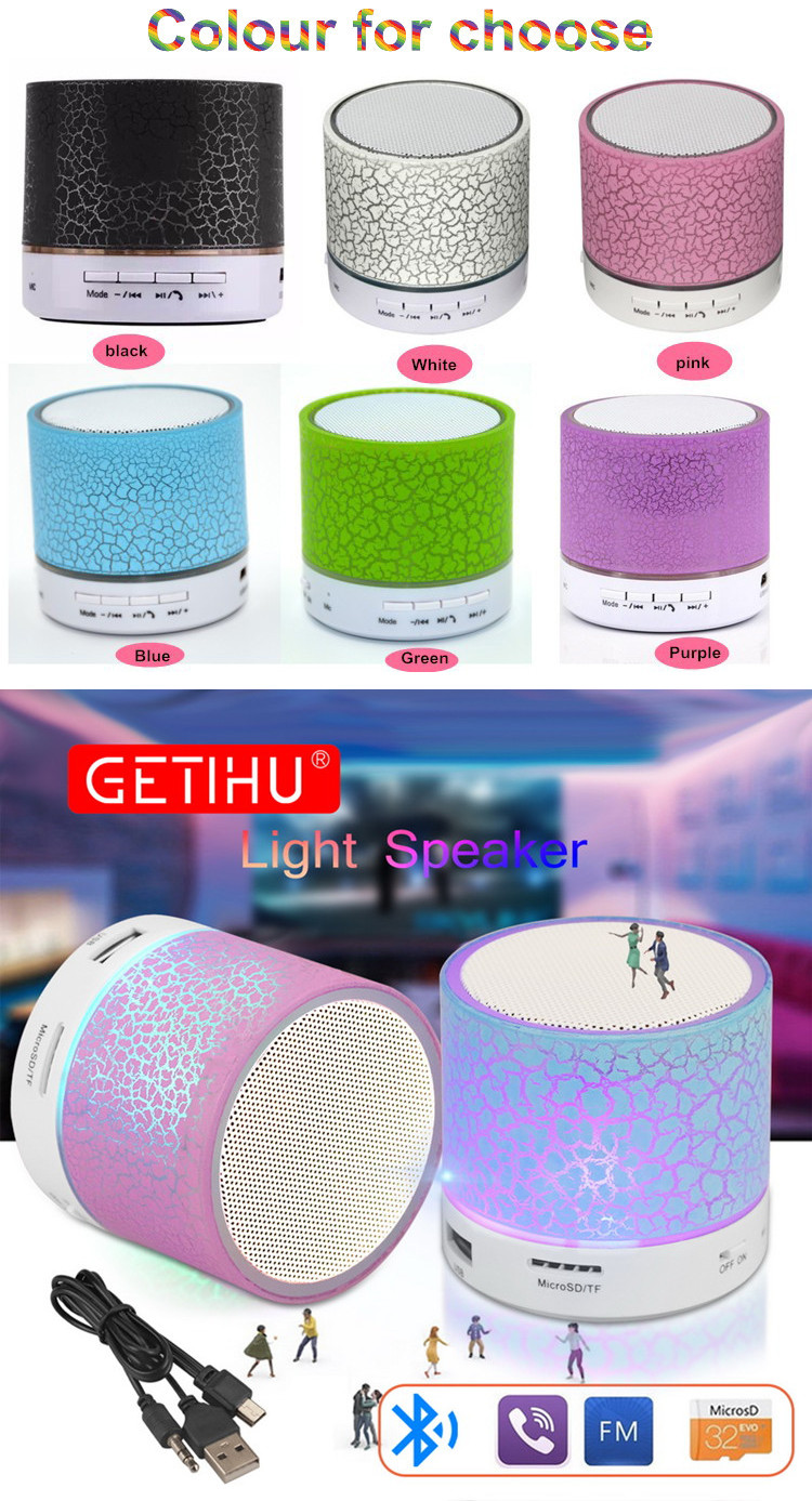 Wholesale GETIHU Portable BT Speakers Wireless Hands Free LED Speaker With TF USB FM Sound Music For Mobile Phone Car Speaker