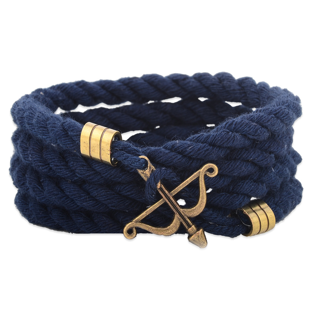 Custom Cotton Cord Bow And Arrow Bracelet