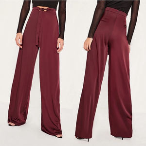 leggings for women tall exclusive burgundy satin wide leg trousers women pants & trousers