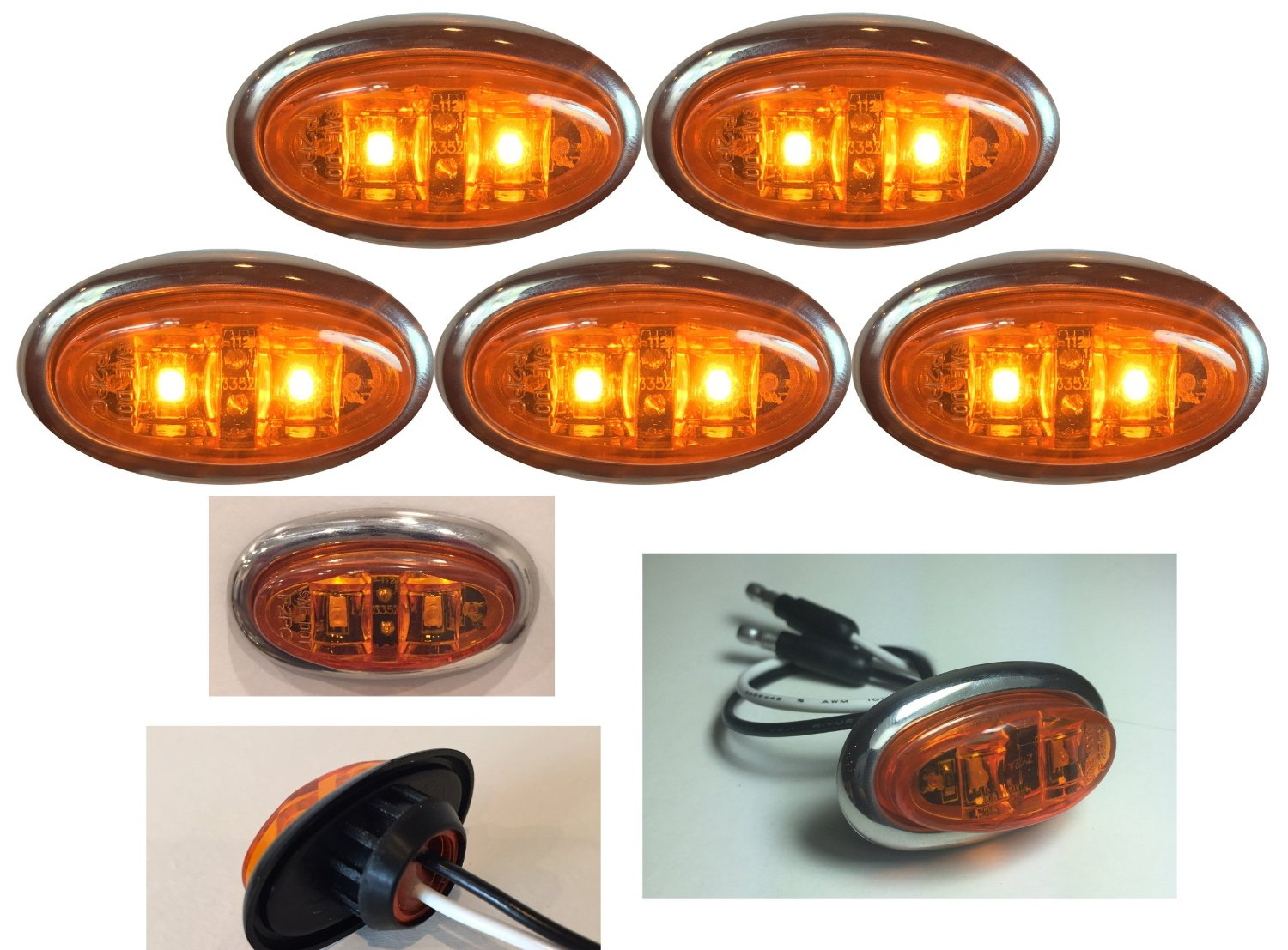 """5 LONG HAUL AMBER AMBER MINI OVAL 2 LED DIODES 2"""" X 3/4"""" .75"""" CLEARANCE MARKER TRAILER TRUCK LIGHTS W BULLET ENDS AND STAINLESS STEEL TRIM RING"""