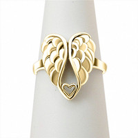 wholesale Sterling Silver Angel Wings Ring with heart wing of love biker ring anti silver/gold plating/platinum