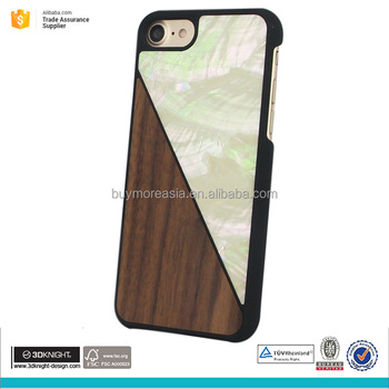 Genuine wood case for iphone 7 natural seashell phone case for iphone 7