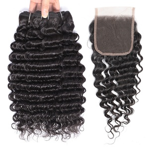 100 Percent Malaysian Deep Wave Curly Remy Virgin Human Hair Bundle 4Pcs Lot With Silk Base Lace Closure Middle Part