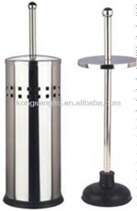 stainless steel toilet plunger with holder