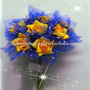 First Foam Yellow Rose Wedding Bouquet With Blue Chiffonyellow Rose