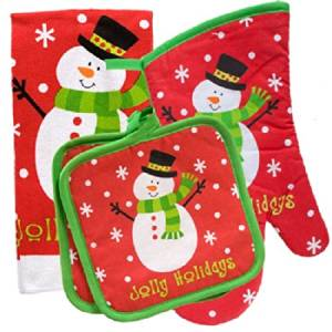 Christmas House Snowman Kitchen Linens Collections 4 PC