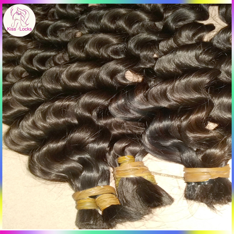 KissLocks Raw Hairs Virgin Indian Human Braid Hair Remy Cuticle Bulk Hairs Deep Curls Kinky Curly
