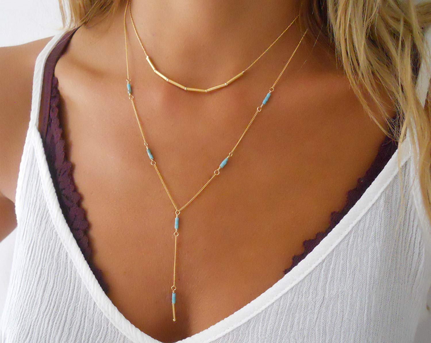Handmade Designer Delicate Set Of 2 Gold Filled Layered Necklaces - Gold Tube Beads Necklace And Gold Lariat Y Shape Necklace With Turquoise Beads