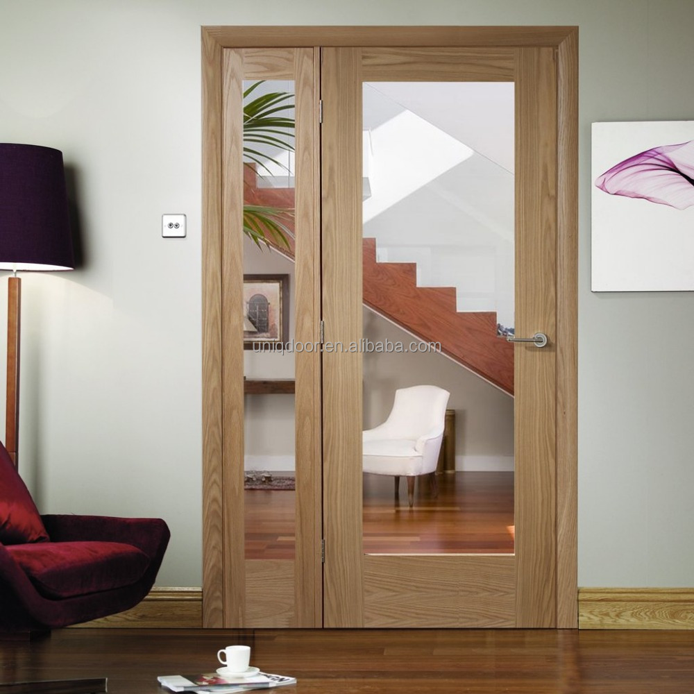 Hot mother and son door oak timber glass panel door leaf