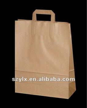Flat Handle Kraft Paper Bags Blank Printing Brown With Handles Product On