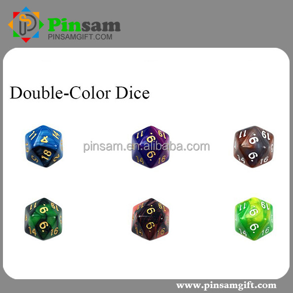 Custom 20 sided dice Double-Color Polyhedral 7pcs set Game Dice/ Role playing game dice