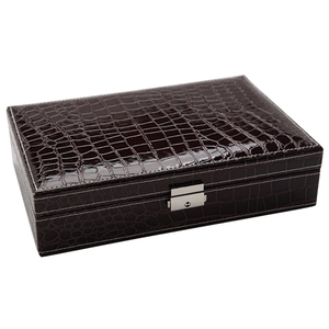 Large Capacity Crocodile Stripes Rectangular Jewelry Box for Girls Safe With Lock