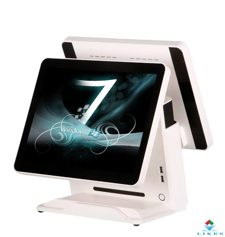 four core dual screen pos system / touch screen ordering system / windows &amp with good price