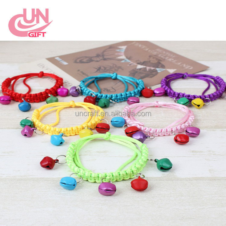 Pure manual weaving pet collar Small bell pet collar multicolor optional