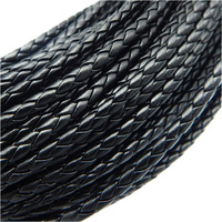 4/5/6mm vintage black pu leather cord for jewellery from allen house