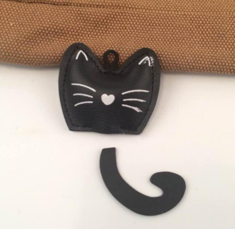 Fmq-280 Factory supply DIY Pu leather cat Accessories KEychain DIY