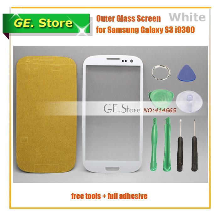 (white) Outer touch Screen Top Glass Lens Replacement for